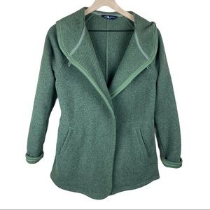 North Face Green Hooded Cardigan Sweater Jacket